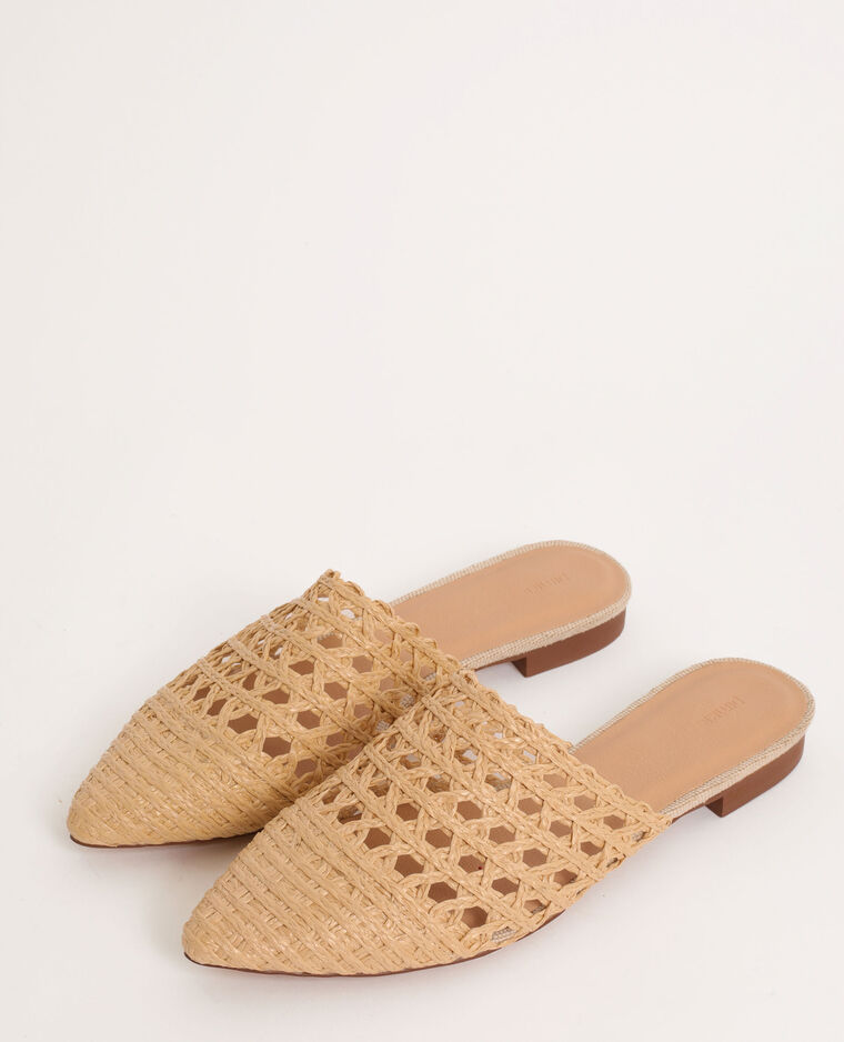 Sandali bassi in rafia beige corda