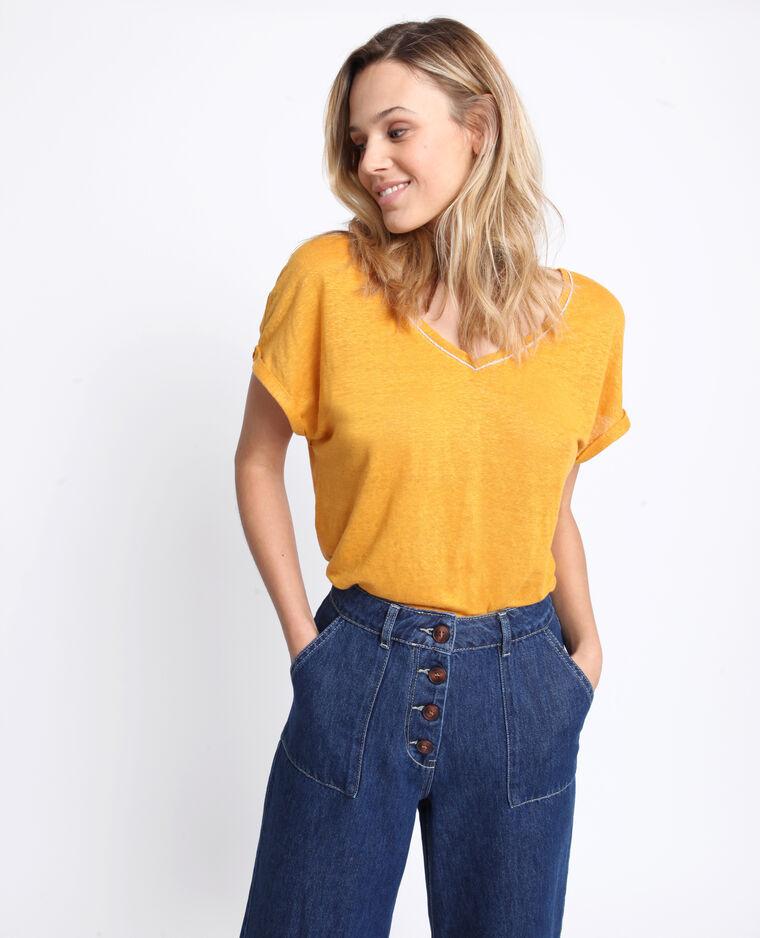T-shirt 100% lino giallo
