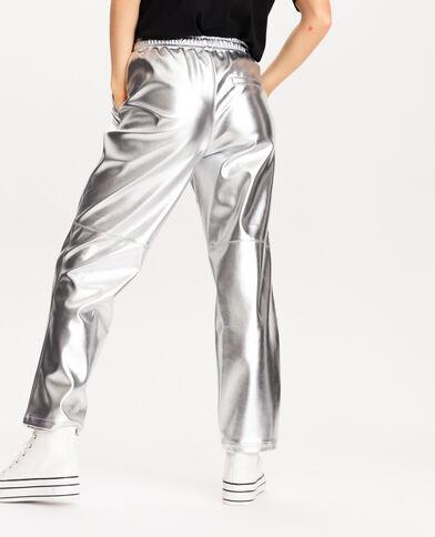Pantalone in finta pelle grigio