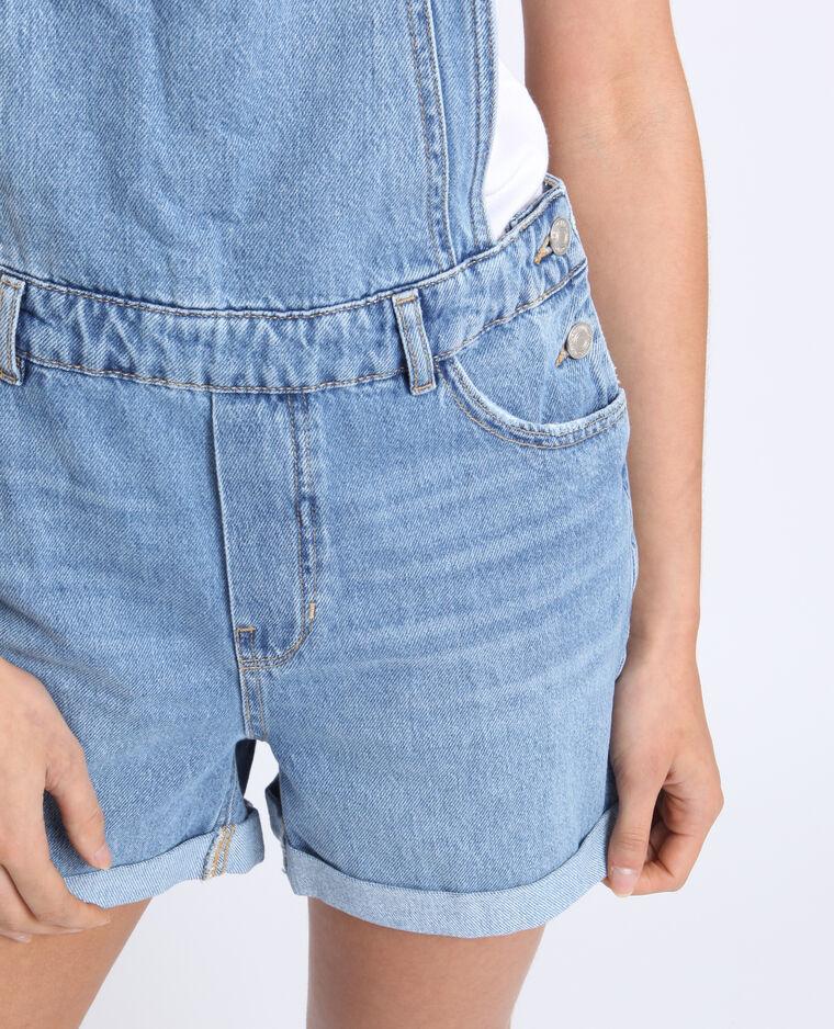 Salopette corta in jeans blu delavato
