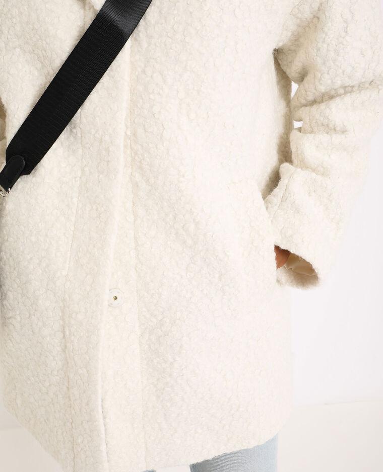 Cappotto effetto montone bianco sporco