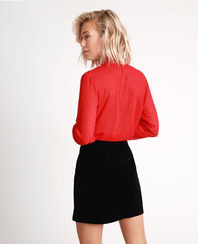 Blusa con plumetis Rosso