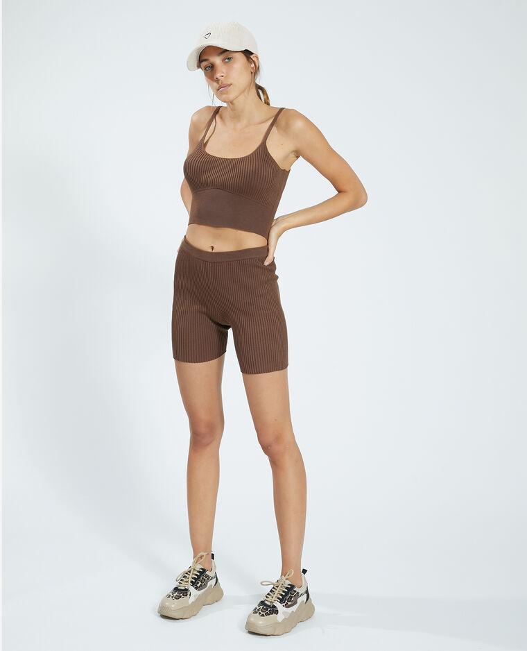 Pantaloncini corti in stile ciclista in maglia a coste marrone - Pimkie