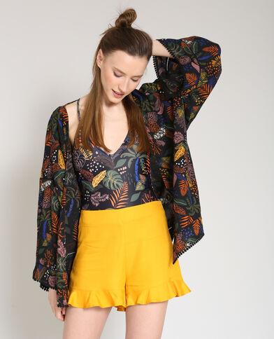 Kimono stampato nero