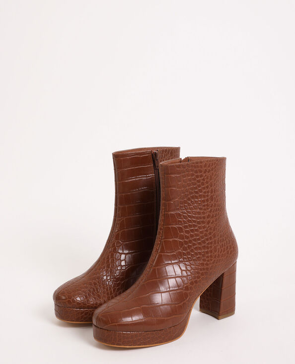 Stivali con plateau marrone