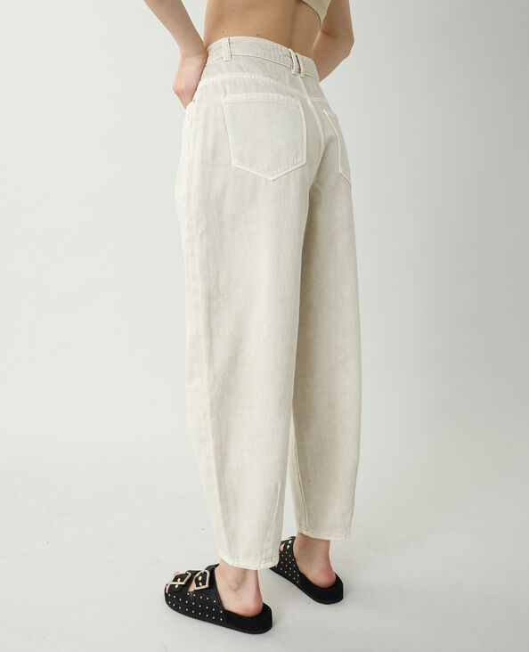 Jeans slouchy high waist beige corda
