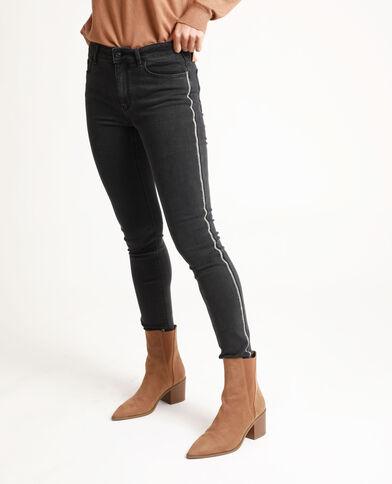 Jeans skinny con strass nero
