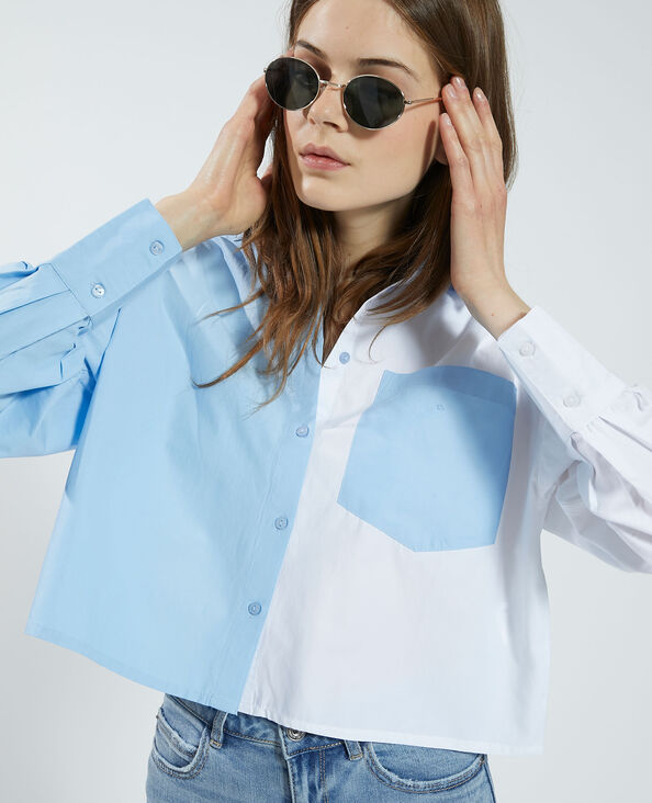 Camicia cropped bicolore bianco - Pimkie