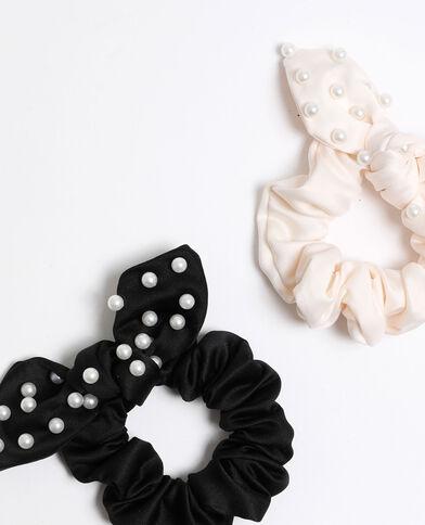 Elastico con perle nero