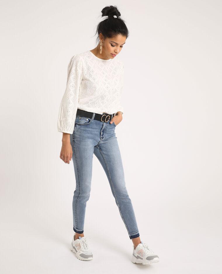 Blusa ricamata bianco sporco