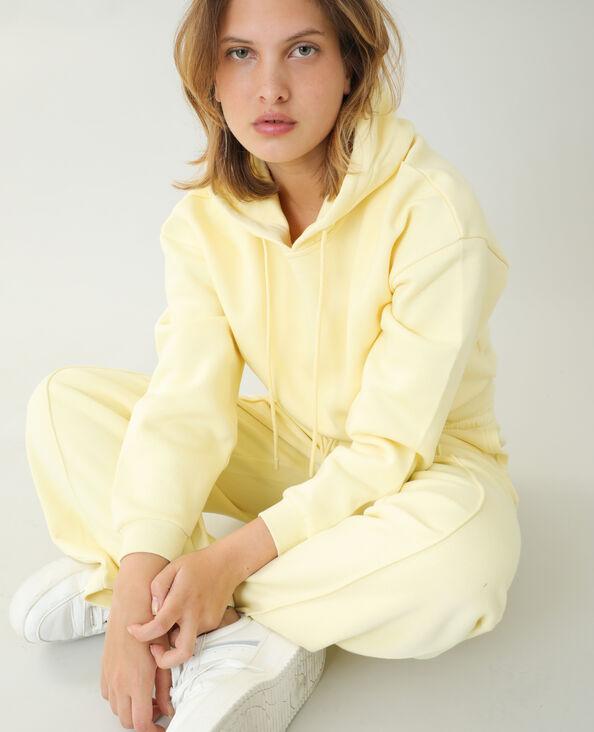 Felpa con cappuccio in tessuto felpato giallo pallido - Pimkie