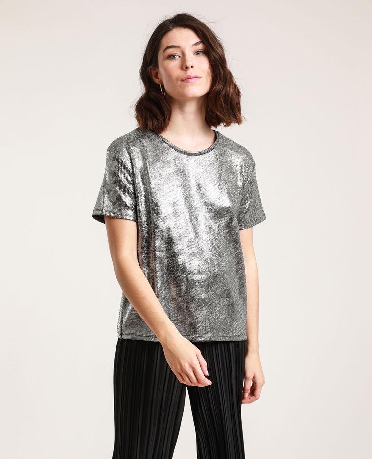 T-shirt con paillettes grigio