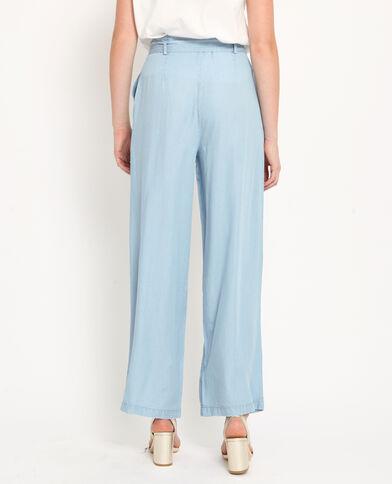 Pantalone con gambe larghe blu delavato