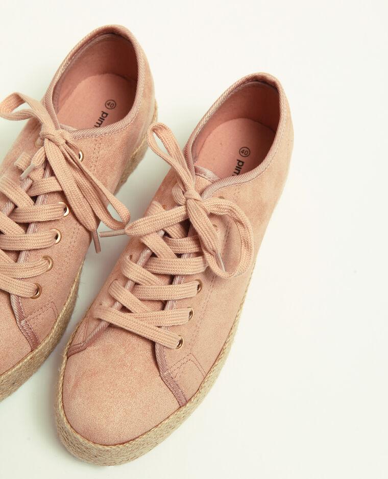 Scarpe sportive suola in paglia rosa cipria
