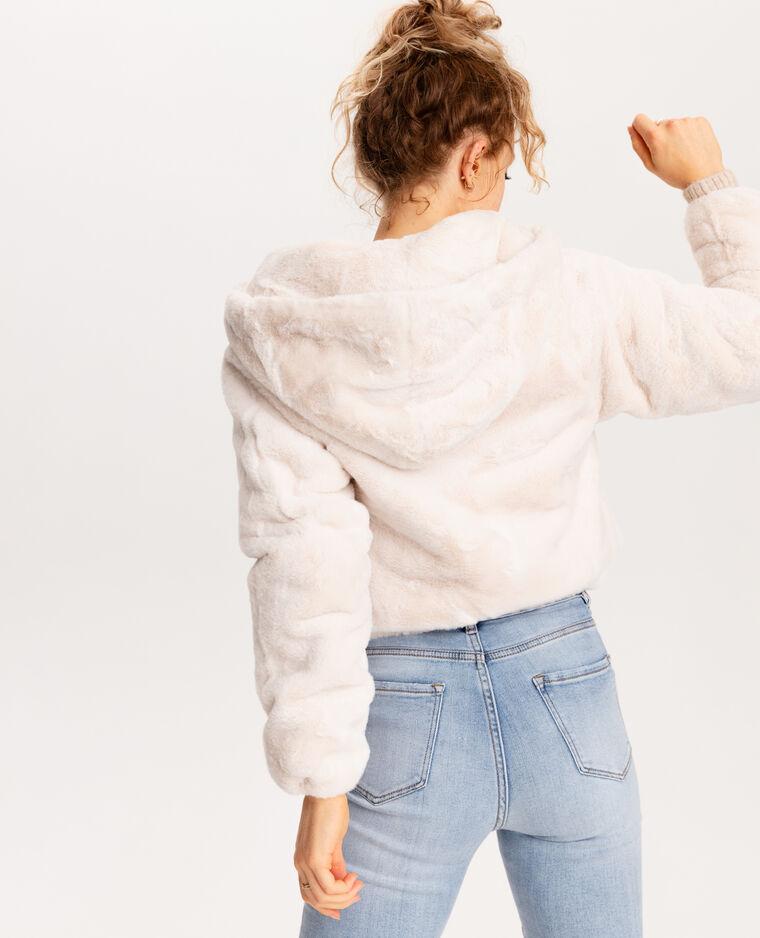 Giubbotto in pelliccia ecologica bianco sporco