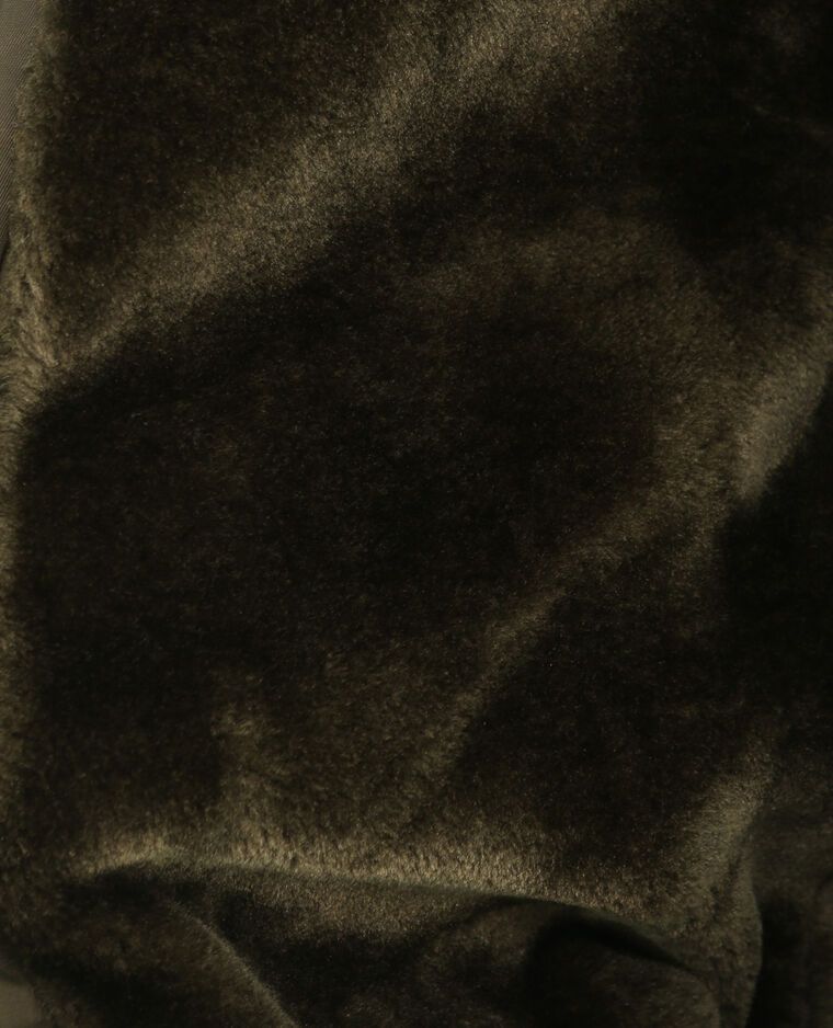 Bomber corto pelliccia ecologica. kaki