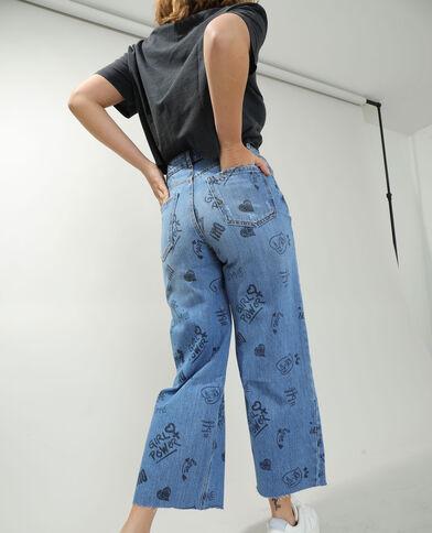 Jeans wide leg high waist con scritte blu denim