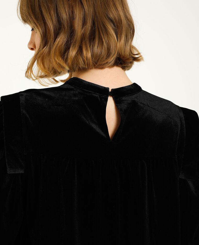 Top in velluto liscio nero