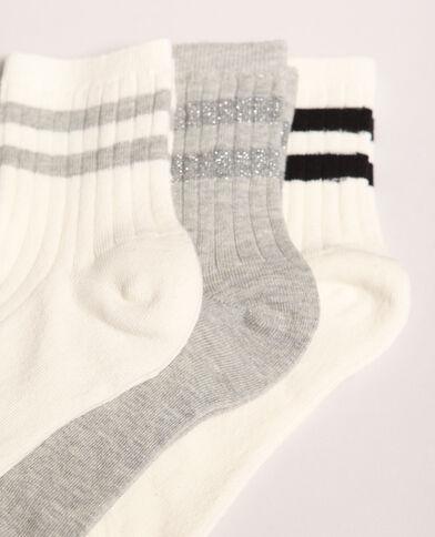 Lotto di calze a righe bianco