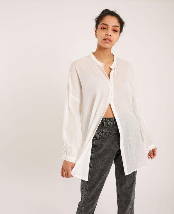 Camicia con collo alla coreana bianco sporco