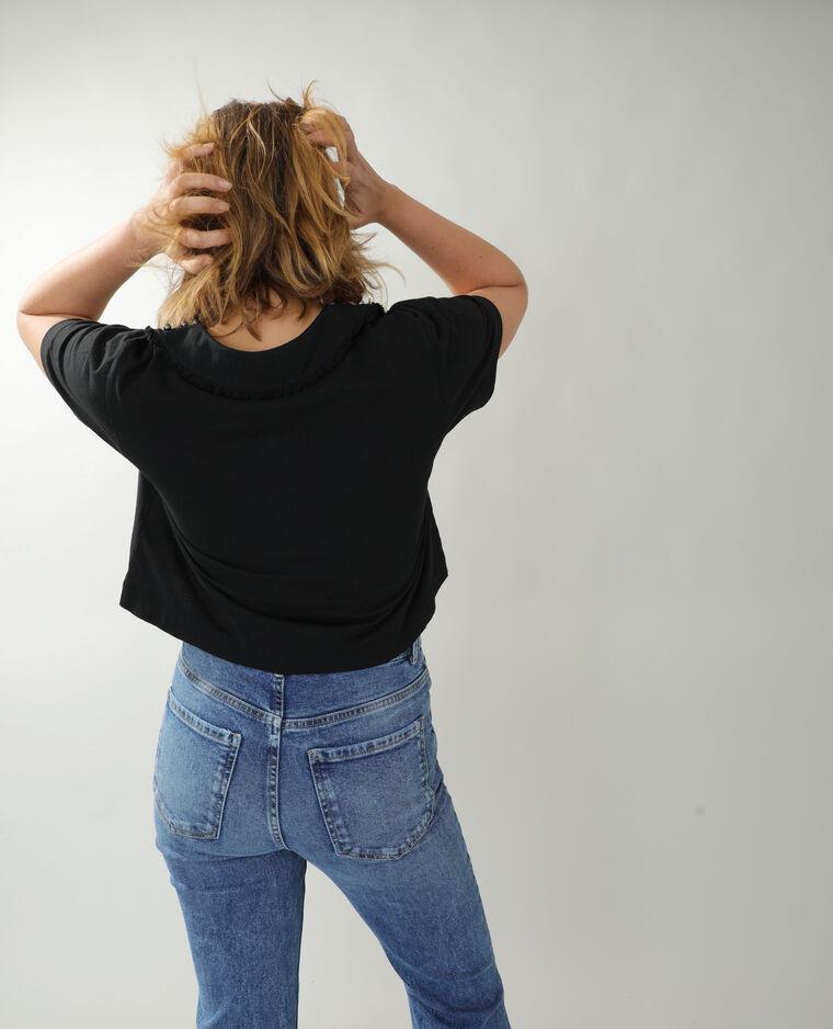 T-shirt con perle e strass nero