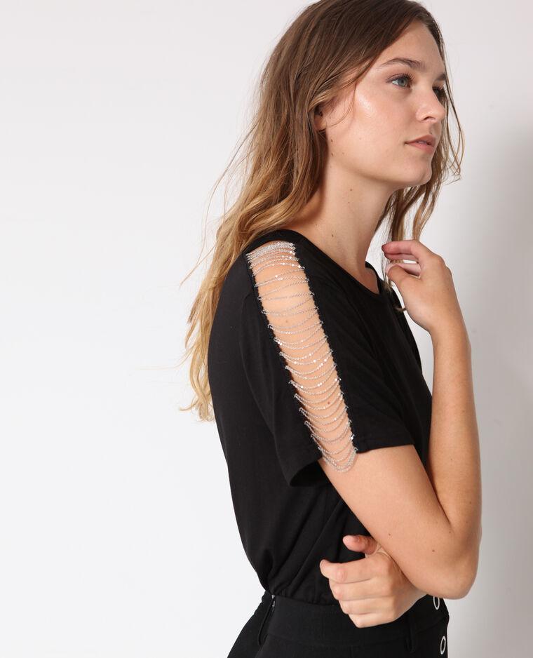T-shirt con catene nero