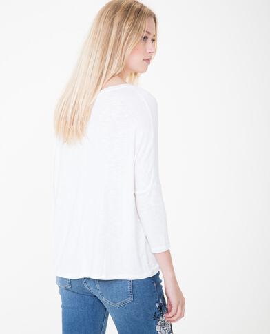 T-shirt con collo ncrociato bianco sporco
