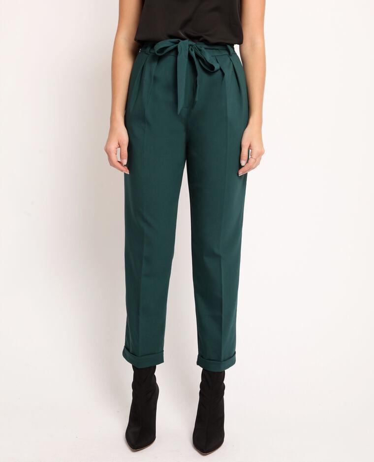Pantalone city con cintura verde