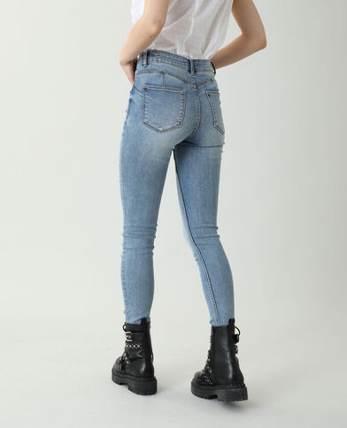 Jeans skinny push up mid waist blu denim