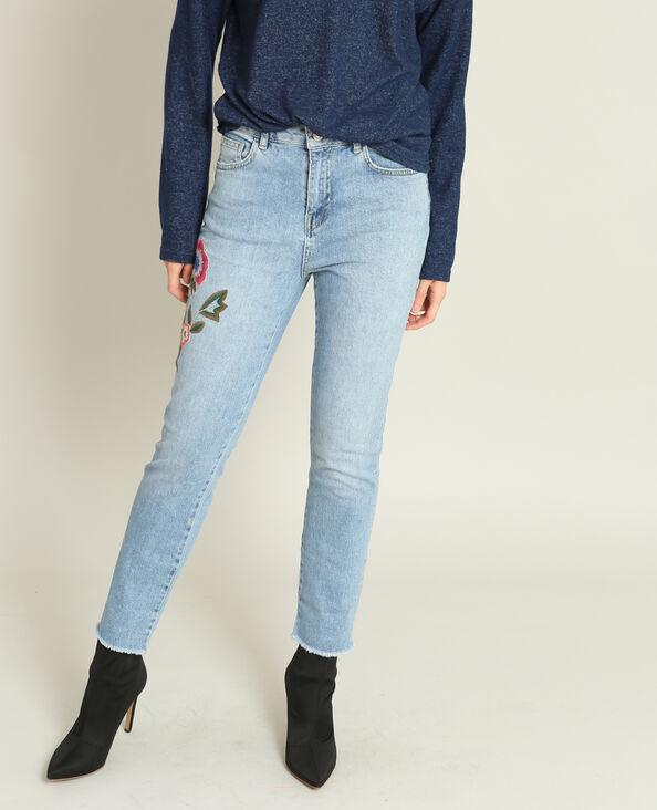 Jeans mom ricamato blu