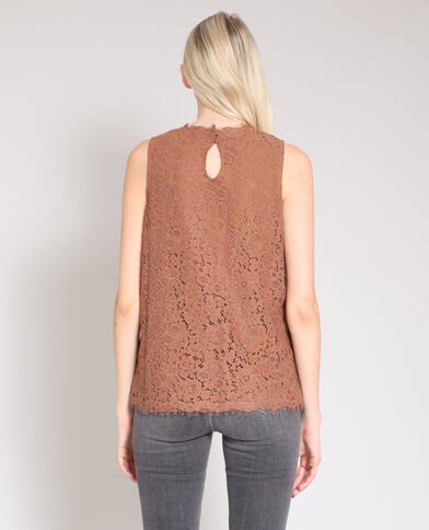 Top in pizzo beige sabbia