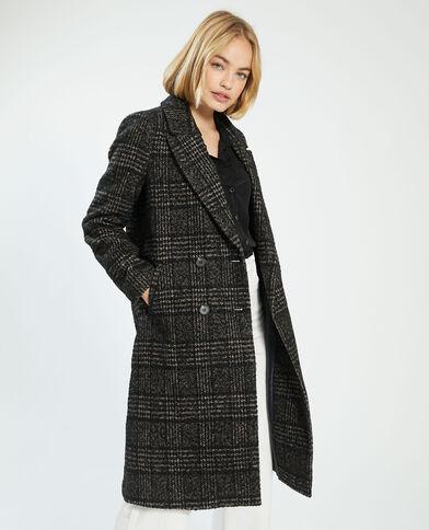 Cappotto lungo motivo pied-de-poule con lana marrone - Pimkie