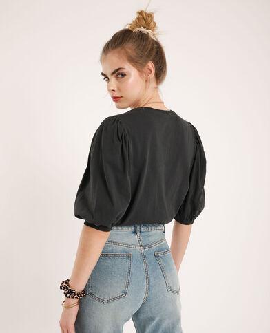 T-shirt con maniche a palloncino grigio antracite