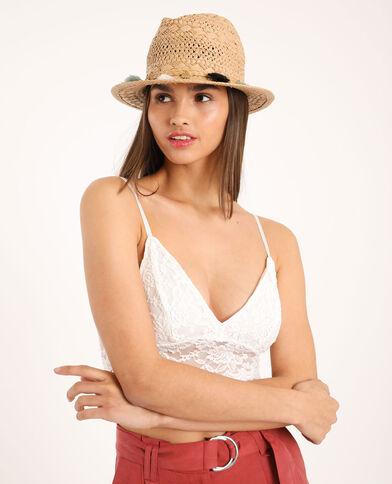 Cappello in paglia beige corda