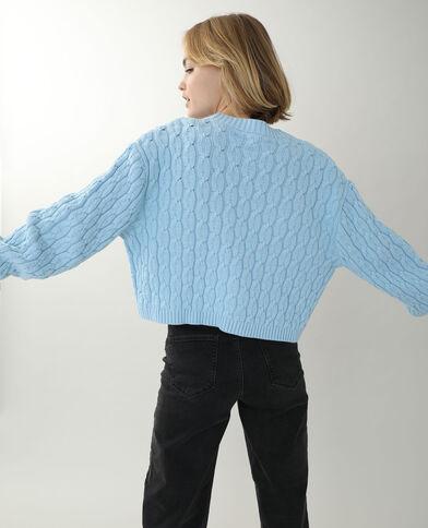 Cardigan corto con motivi a intreccio blu
