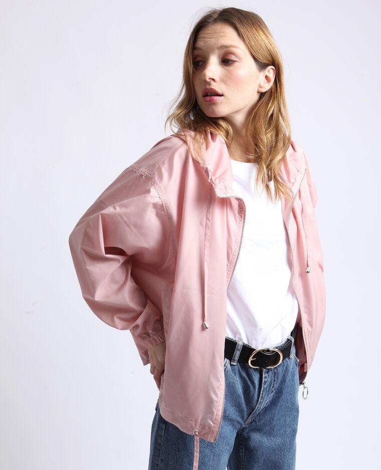 Giacca a vento con cappuccio rosa