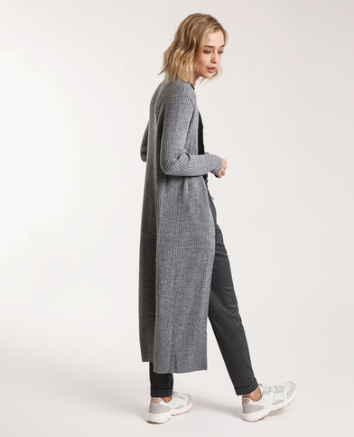 Cardigan lungo grigio chiné