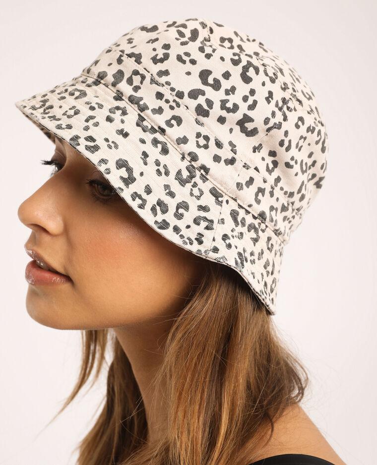 Cappello bob leopardato beige
