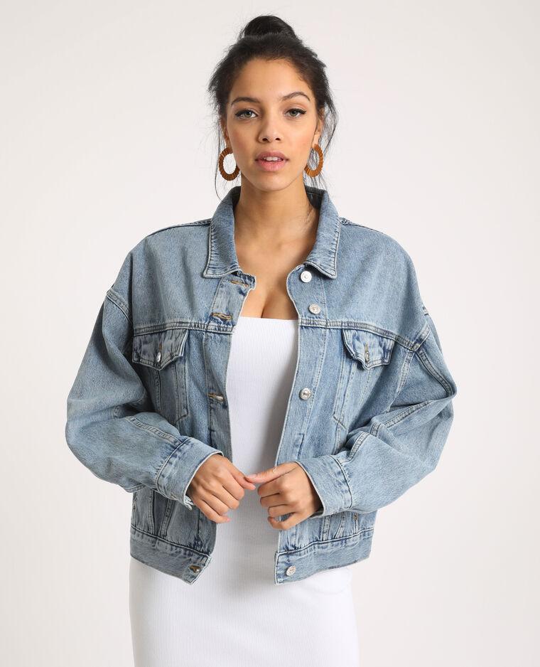 Giacca di jeans oversize blu delavato