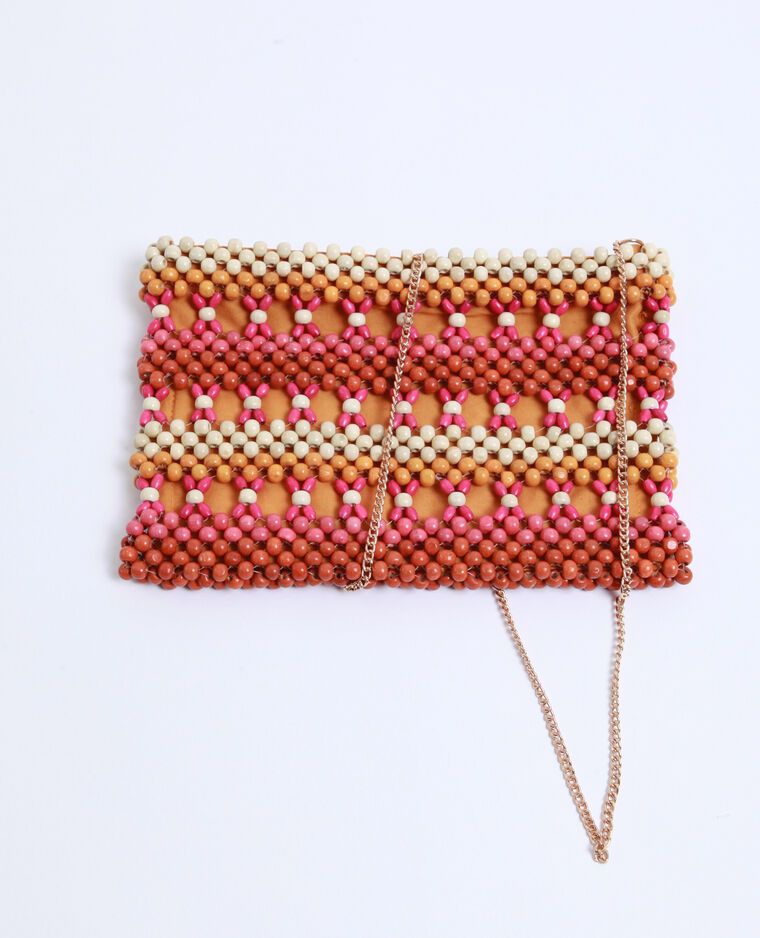 Borsa pochette con perle rosa fucsia