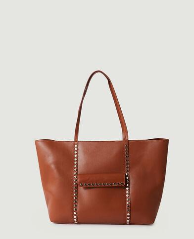 Borsa shopping con borchie bianco - Pimkie
