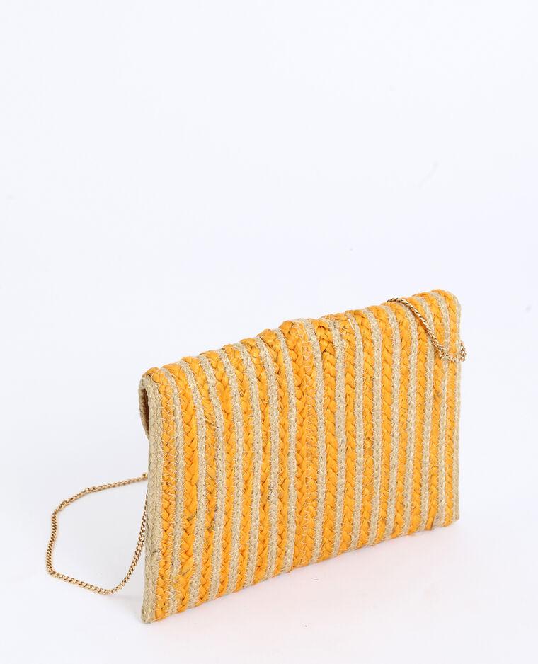 Borsa pochette in paglia giallo