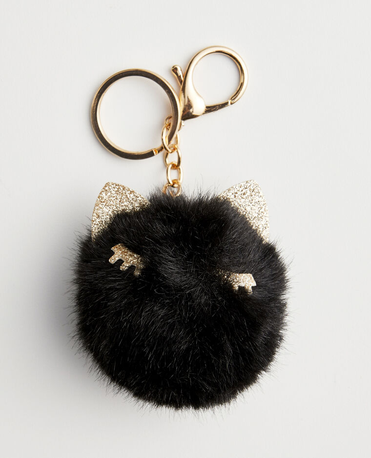 Portachiavi in pelliccia ecologica nero