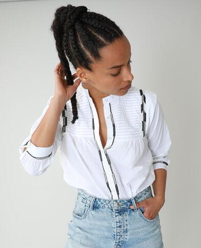 Camicia con perle bianco - Pimkie