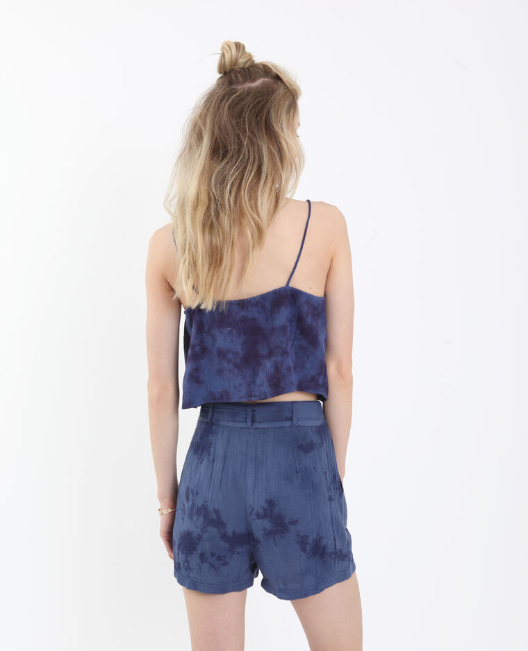 Top corto délavé blu