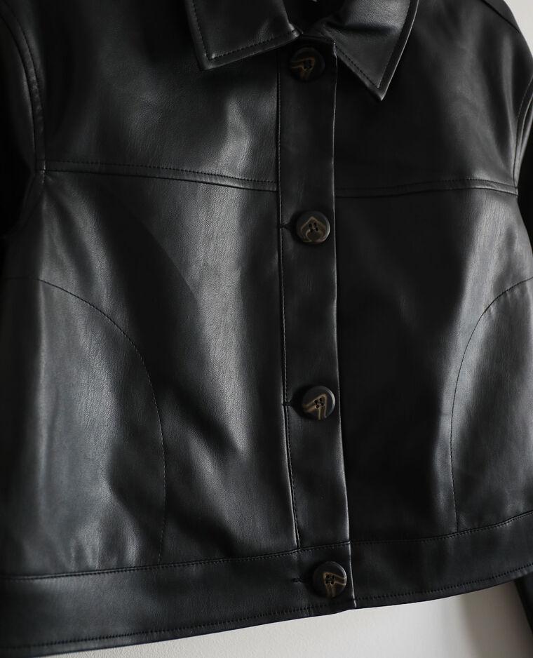 Giacca corta in finta pelle nero