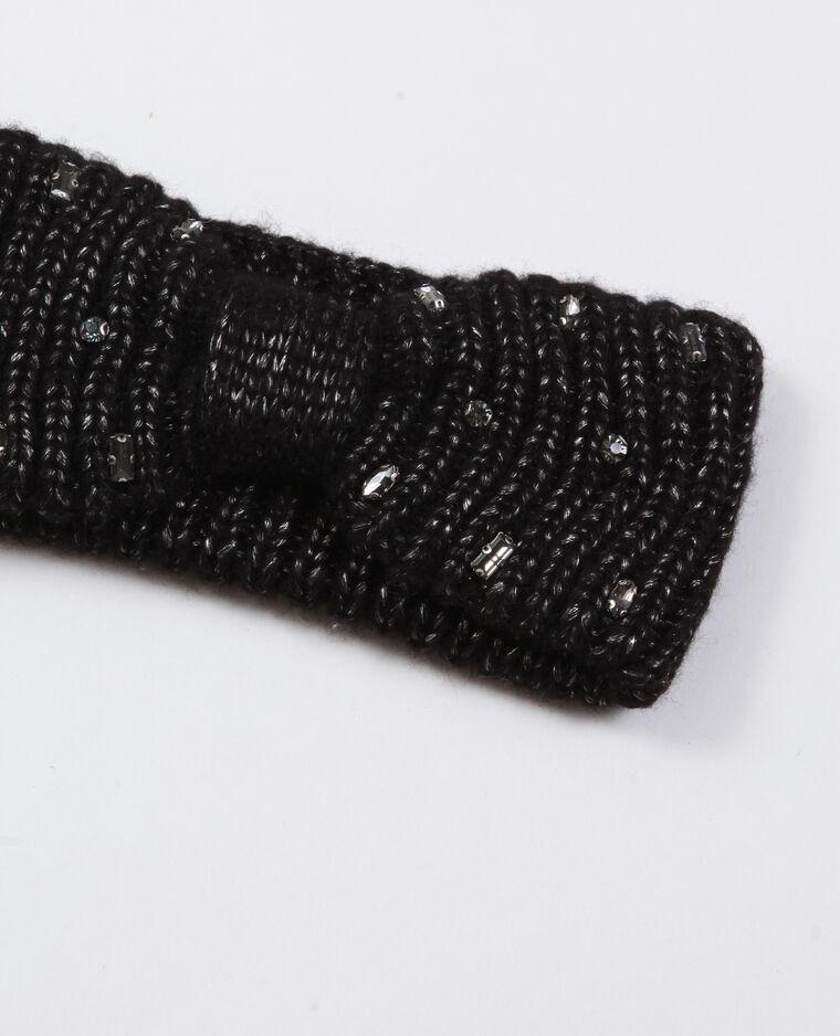 Headband con strass nero
