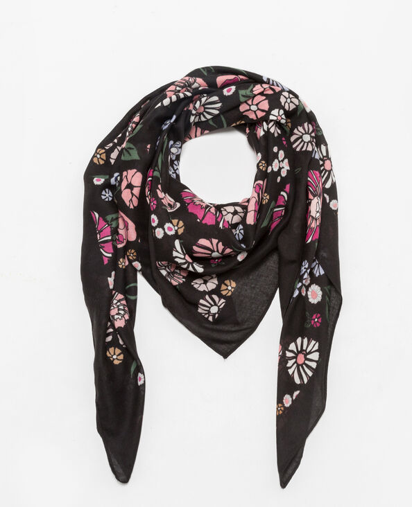 Foulard con stampa floreale nero