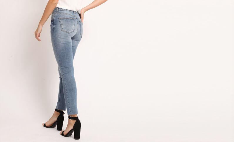 Jeans skinny destroy blu denim