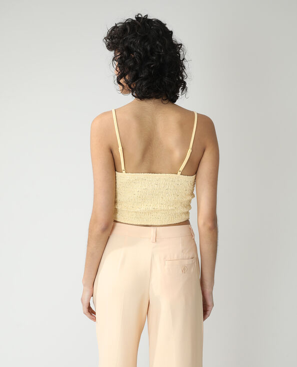 Top cropped in pizzo giallo - Pimkie